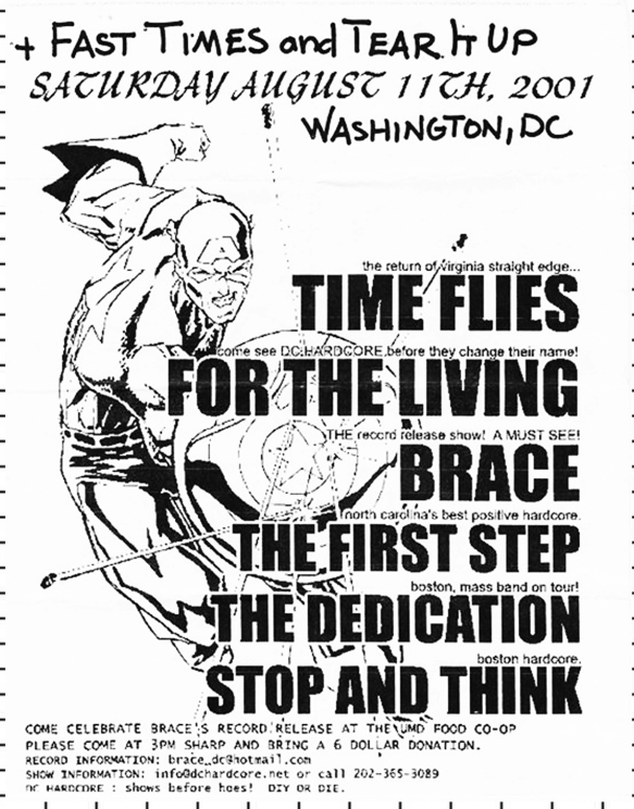 Fast Times-Tear It Up-Time Flies-For The Living-Brace-The First Step-The Dedication-Stop & Think @ Washington DC 8-11-01